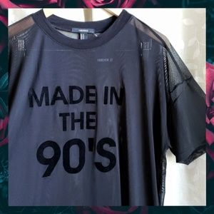 {F21}Black Mesh Velvet Made In The 90s Oversize T